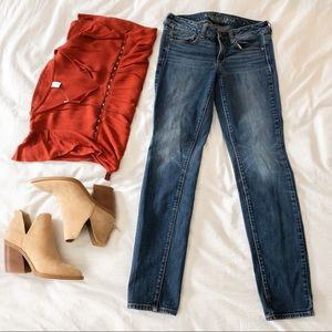 American Eagle Mid Rise Skinny Stretch Jeans - 4